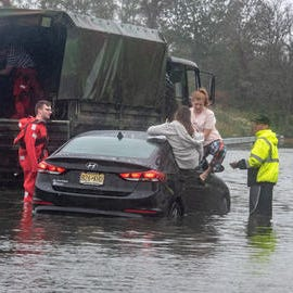 NJ weather: Four people rescued from flooded car in Middletown