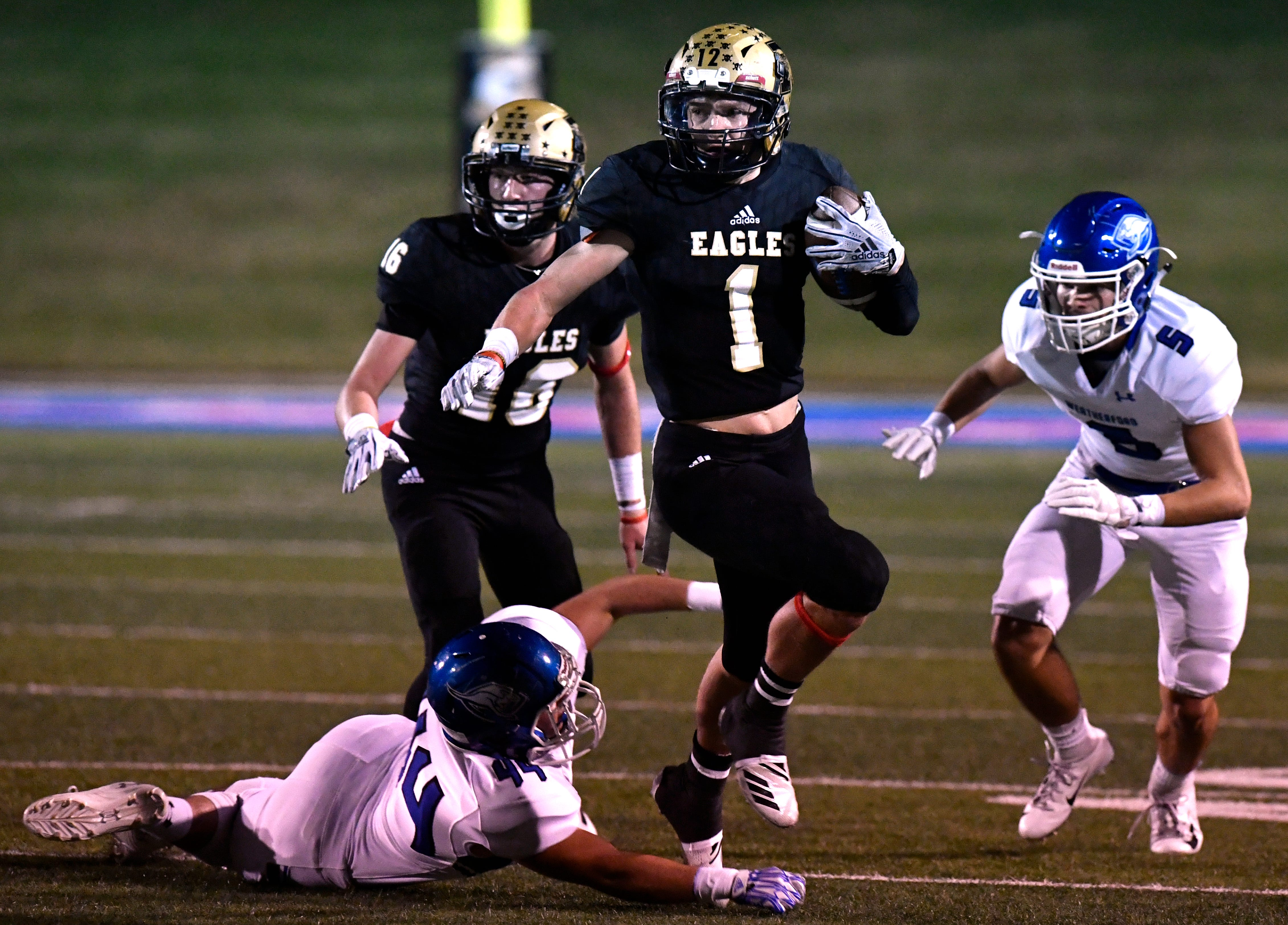 Abilene High's Colton Wilson slips past the Weatherford defense during Friday's game Oct. 26, 2018. Wilson is tied for fourth on the Eagles with 47 tackles.