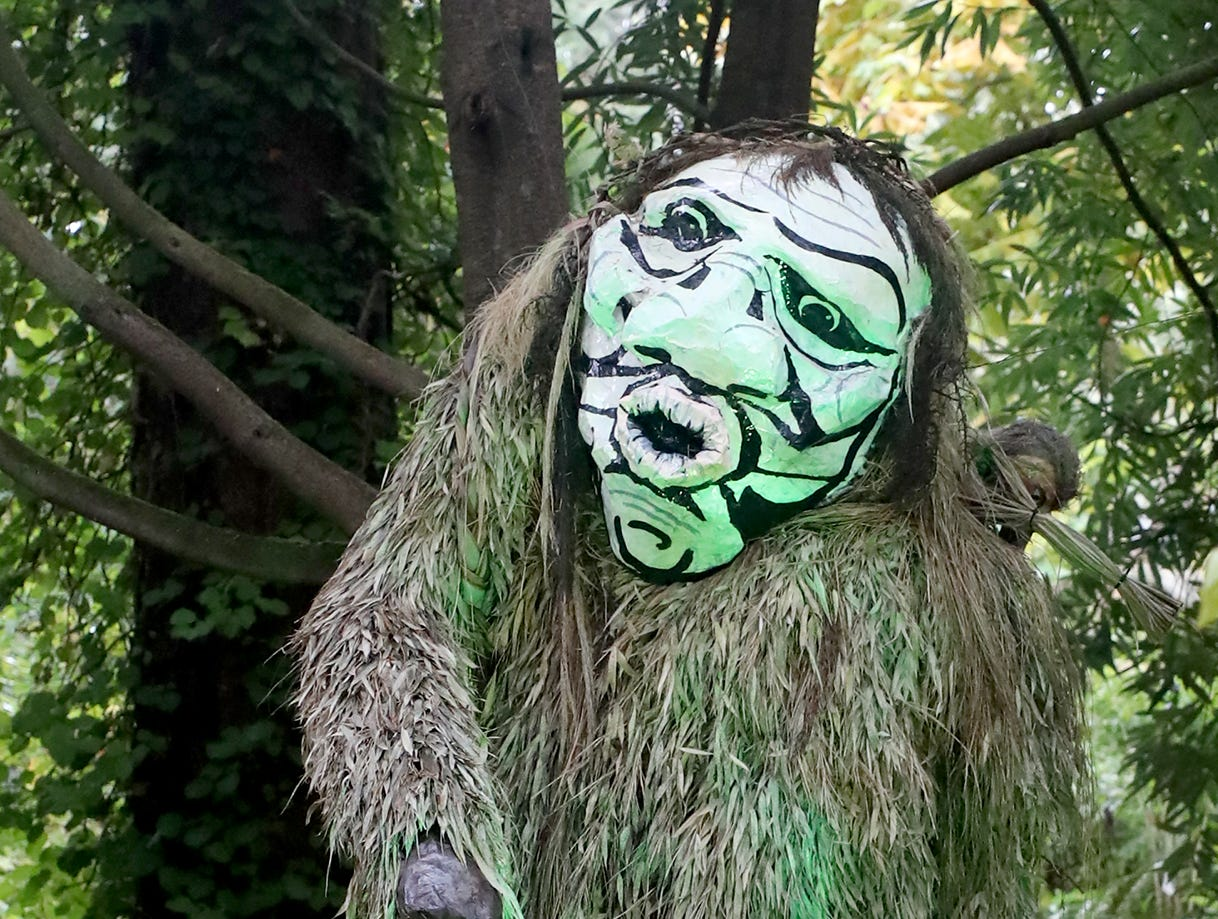Slapu from a S'Kllallam Tribal story at the Haunted Heronswood 2018 in Kingston was Friday and Saturday, October,26-27. The second annual garden halloween charters tour featured some SÕKlallam folk stories.