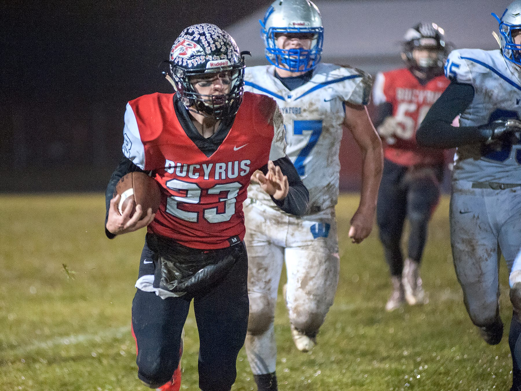 Bucyrus' Harley Robinson runs the ball.