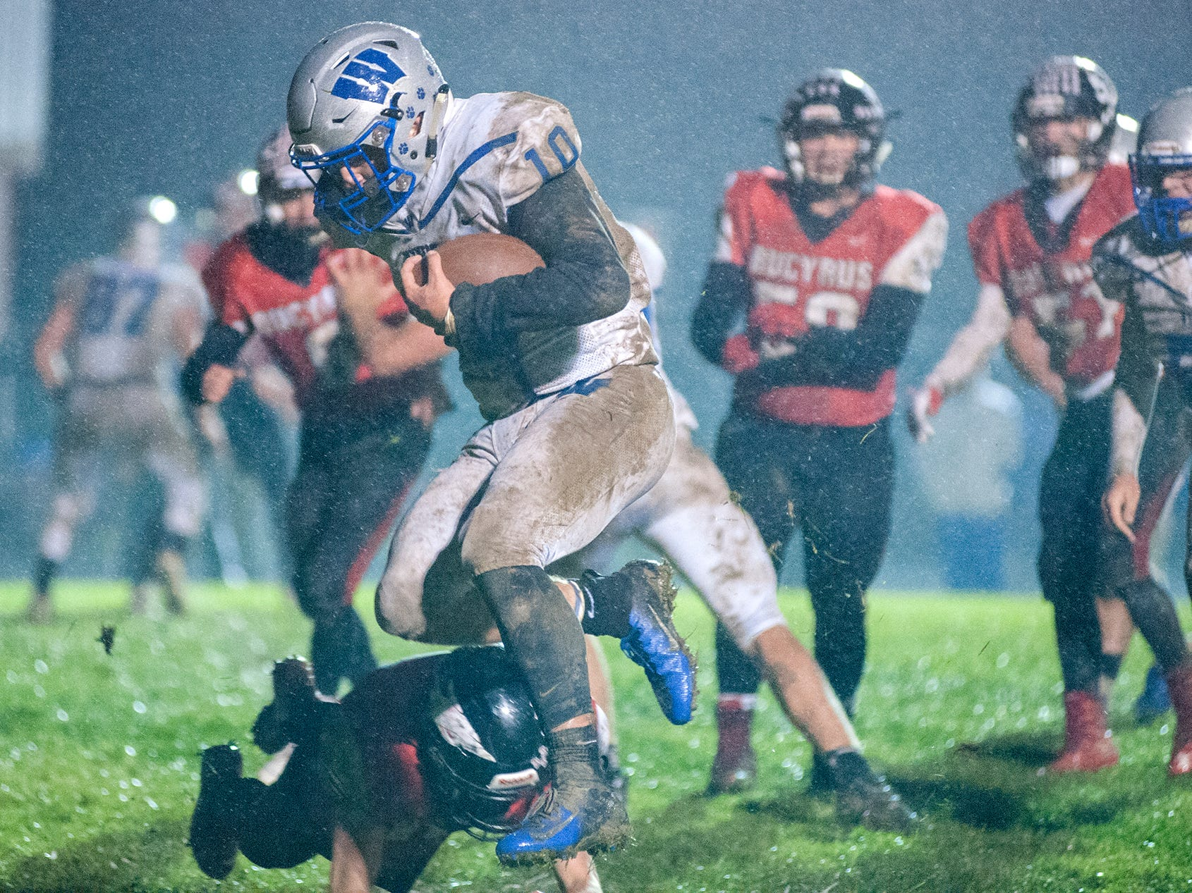 Wynford's Blake Sparks leaps into the end zone for a two-point conversion.