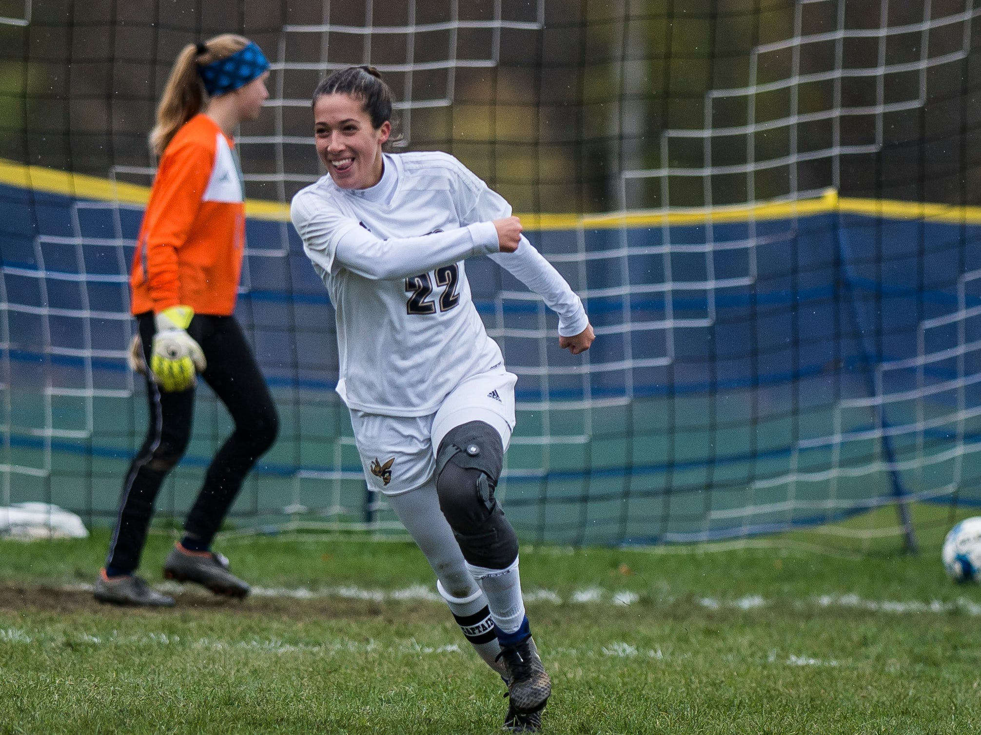 Essex #22 Huntyr Poulin gets a third penalty kick past MMU goalie Anna Betz during their quarter-final game in Jericho on Saturday, Oct. 27, 2018, that went into double overtime and shootout. Essex took the penalty kick contest to win, 4-1.