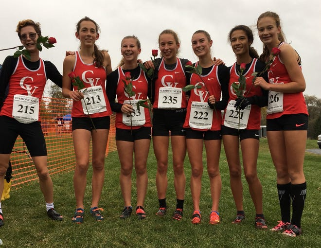 The CVU girls pose after winning the Division I title on Saturday at Thetford.