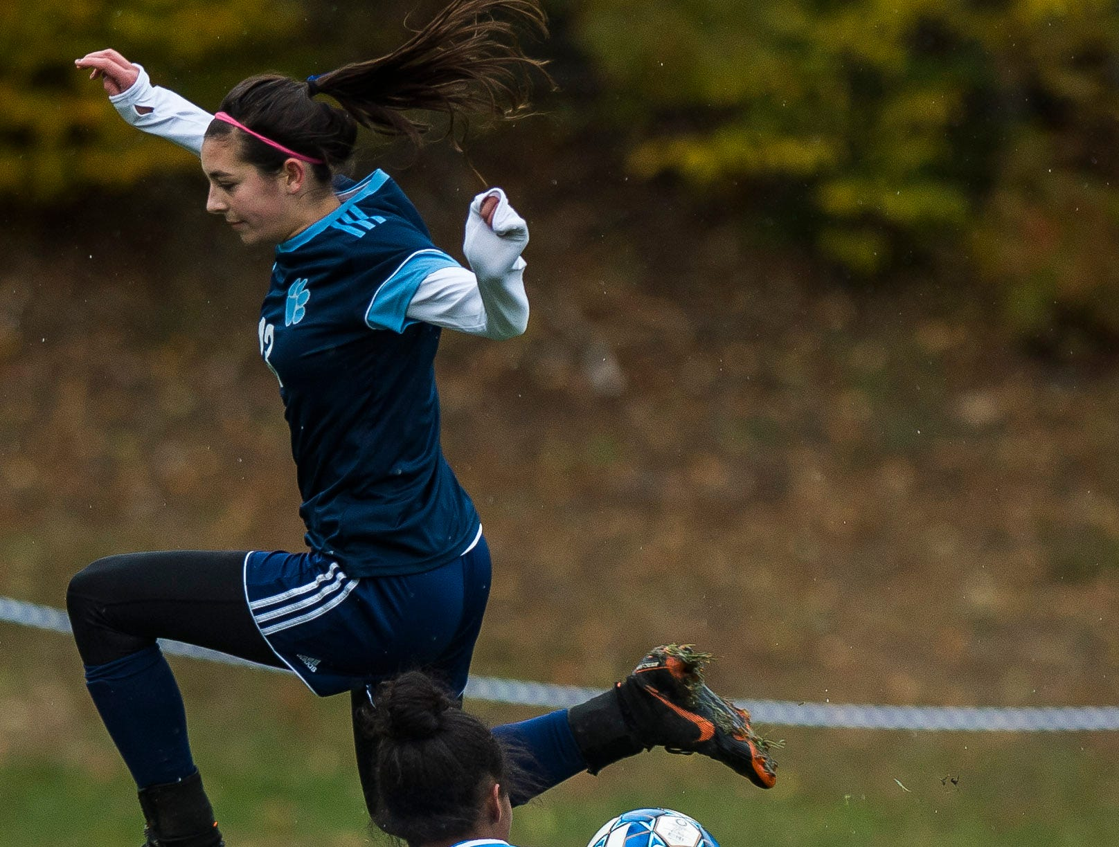 MMU #13 Macey Wissell is intercepted by Essex goalie Yasmine Nsame during their quarter-final game in Jericho on Saturday, Oct. 27, 2018, that went into double overtime and shootout. Essex took the penalty kick contest to win, 4-1.