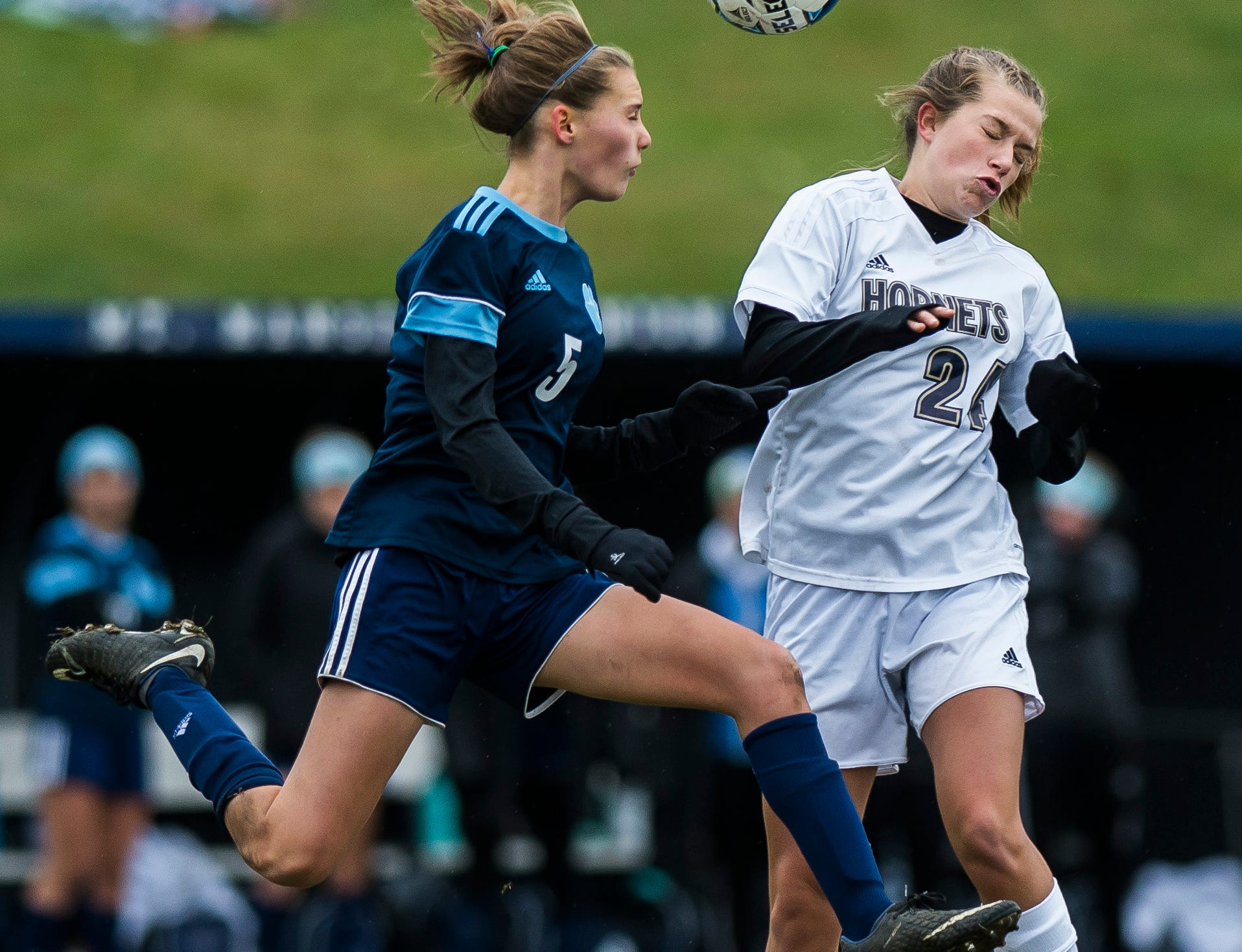 MMU #5 Skye Fitzhugh gets the headers past Essex #24 Emma Whitney during their quarter-final game in Jericho on Saturday, Oct. 27, 2018, that went into double overtime and shootout. Essex took the penalty kick contest to win, 4-1.