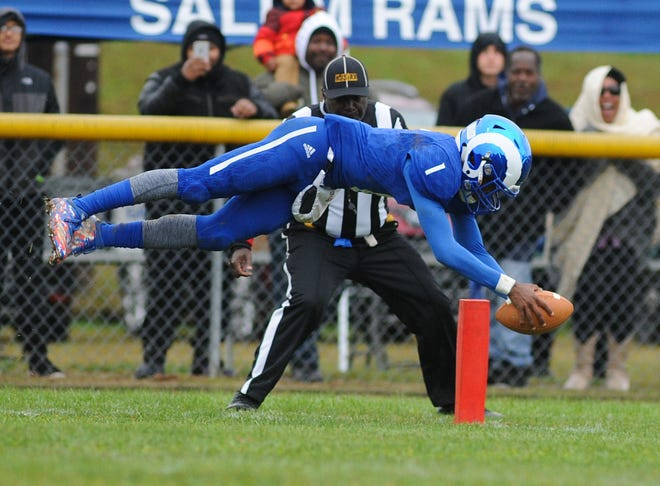 Salem's Jamael Bundy front flips as he enters the end zone for a touchdown in a late-season loss to Penns Grove. The Rams would like another shot at their rivals but first must get past Gateway on Saturday in the South Jersey Group 1 semifinals.