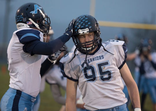Adena's Caleb Foglesong prepares for a game against Paint Valley in week 10 of the 2018 season at Paint Valley High School.