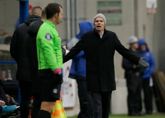 FC Cincinnati head coach Alan Koch questions a call in the first half