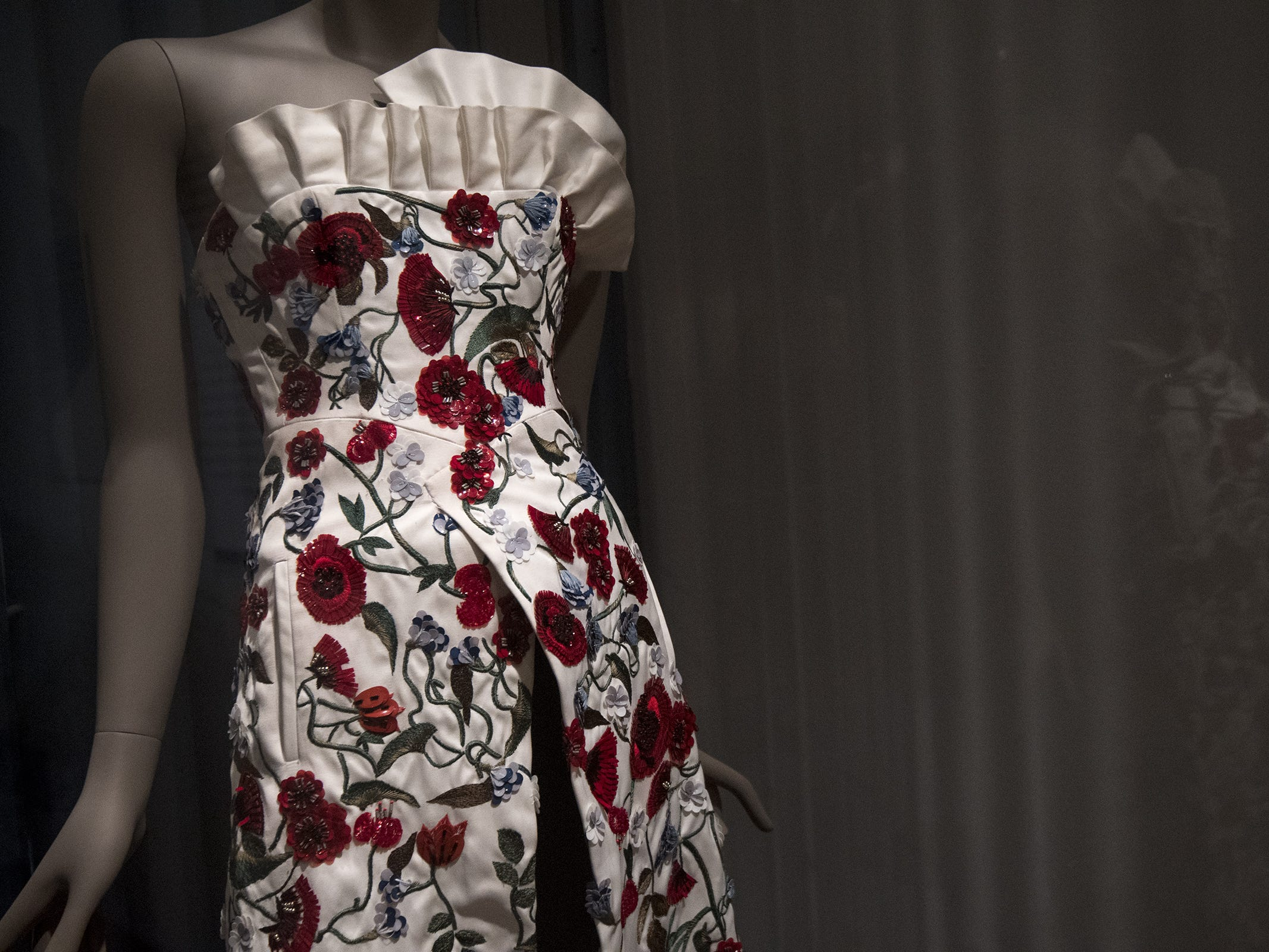 This dress by designer Osman Yousefzada and worn by actress Emma Watson, is a part of the new Fabrics of India exhibit at the Cincinnati Art Museum.