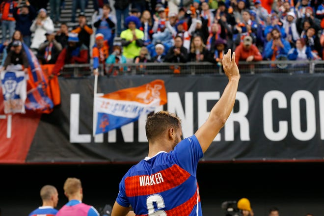 FC Cincinnati midfielder Kenney Walker (6) waves to the Bailey after the second half of the USL Eastern Conference Semifinal match between the FC Cincinnati and the New York Red Bulls II at Nippert Stadium in Cincinnati on Tuesday, Oct. 16, 2018. FC Cincinnati was eliminated from the playoffs with a 1-0 loss to New York.
