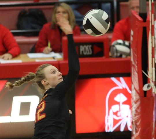 Fenwick player Katherin Hafer  during their volleyball game against Wyoming, Saturday, Oct.27,2018.