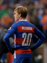 FC Cincinnati midfielder Jimmy McLaughlin (20) paces the field at the end of the second half of the USL Eastern Conference Semifinal match between the FC Cincinnati and the New York Red Bulls II at Nippert Stadium in Cincinnati on Tuesday, Oct. 16, 2018. FC Cincinnati was eliminated from the playoffs with a 1-0 loss to New York.
