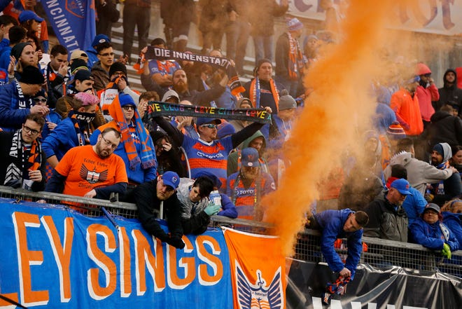 The Bailey cheers for the players as they leave the field after the second half of the USL Eastern Conference Semifinal match between the FC Cincinnati and the New York Red Bulls II at Nippert Stadium in Cincinnati on Tuesday, Oct. 16, 2018. FC Cincinnati was eliminated from the playoffs with a 1-0 loss to New York.
