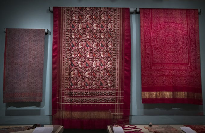 This sari from the early 1900s is a part of the new Fabrics of India exhibit at the Cincinnati Art Museum. The new exhibit is the centerpiece of this month's Art After Dark after-hours event Friday, Oct. 26, 2018, in Cincinnati, Ohio.