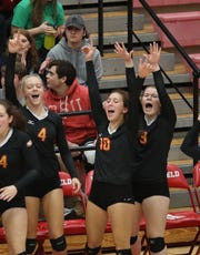 Fenwick players reacts during their volleyball game against Wyoming, Saturday, Oct.27,2018.
