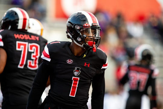 Austin Peay Governors wide receiver DJ Montgomery (1) smiles after a touchdown during the first half at Fortera Stadium Saturday, Oct. 27, 2018, in Clarksville, Tenn.