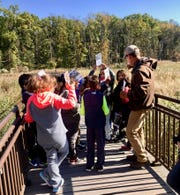 """All fourth-grade students in Linden Public Schools got a chance to visit the Hawk Rise Sanctuary in Linden during the week of Oct. 22 to Oct. 26 to explore lessons related to the """"Environments"""" science kit they are using in class. Pictured are students from School No. 1."""