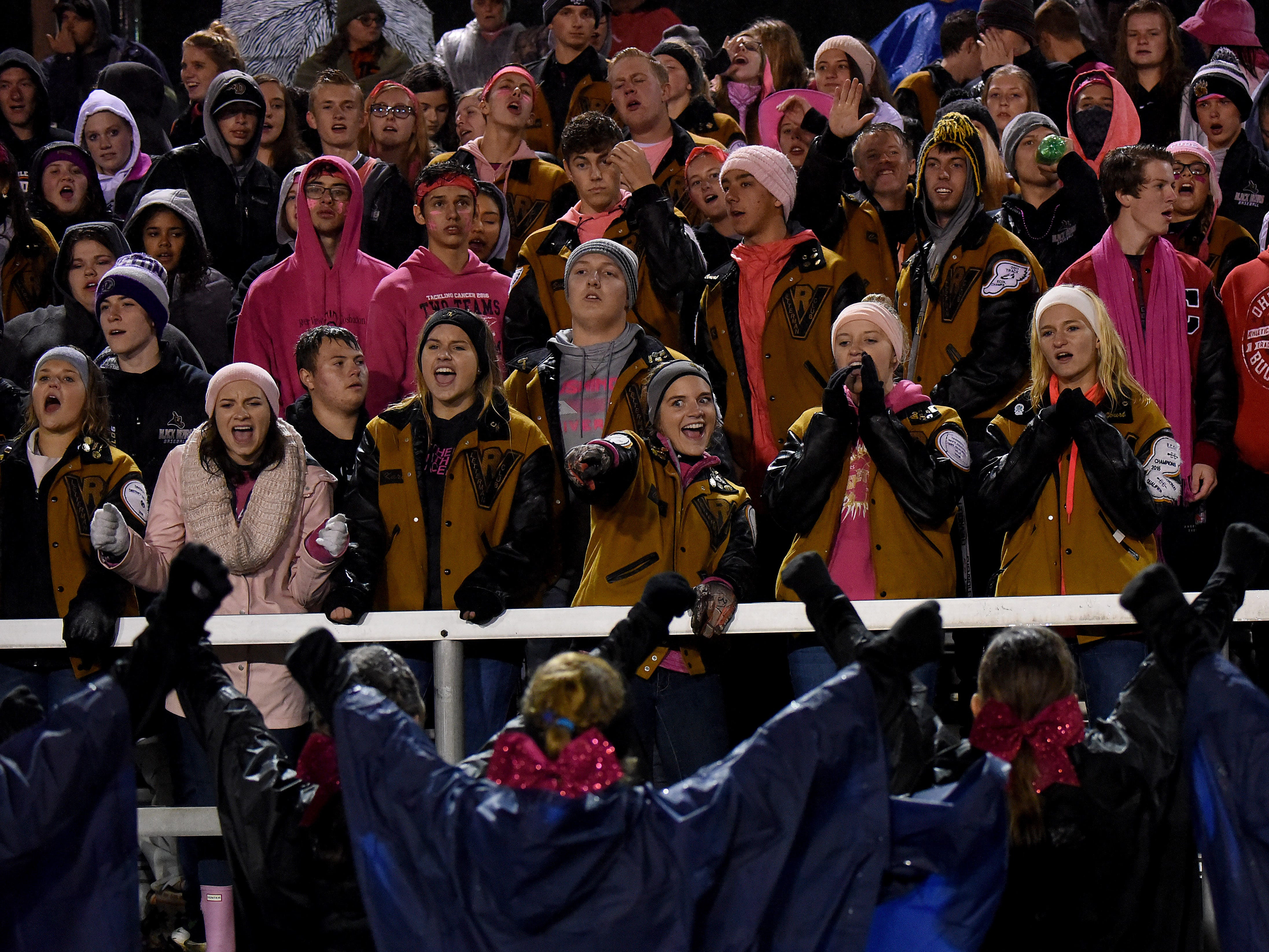 The River View student section cheers during Friday night's game against Coshocton.