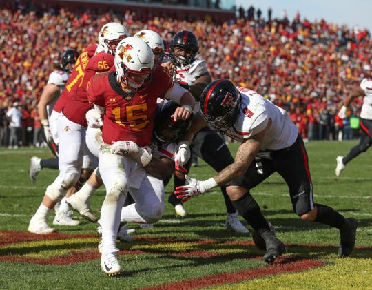 Oct 27, 2018; Ames, IA, USA; Texas Tech Red Raiders linebacker Dakota Allen (40) sacks Iowa State Cyclones quarterback Brock Purdy (15) at Jack Trice Stadium. The Cyclones beat the Red Raiders 40-31.  Mandatory Credit: Reese Strickland-USA TODAY Sports