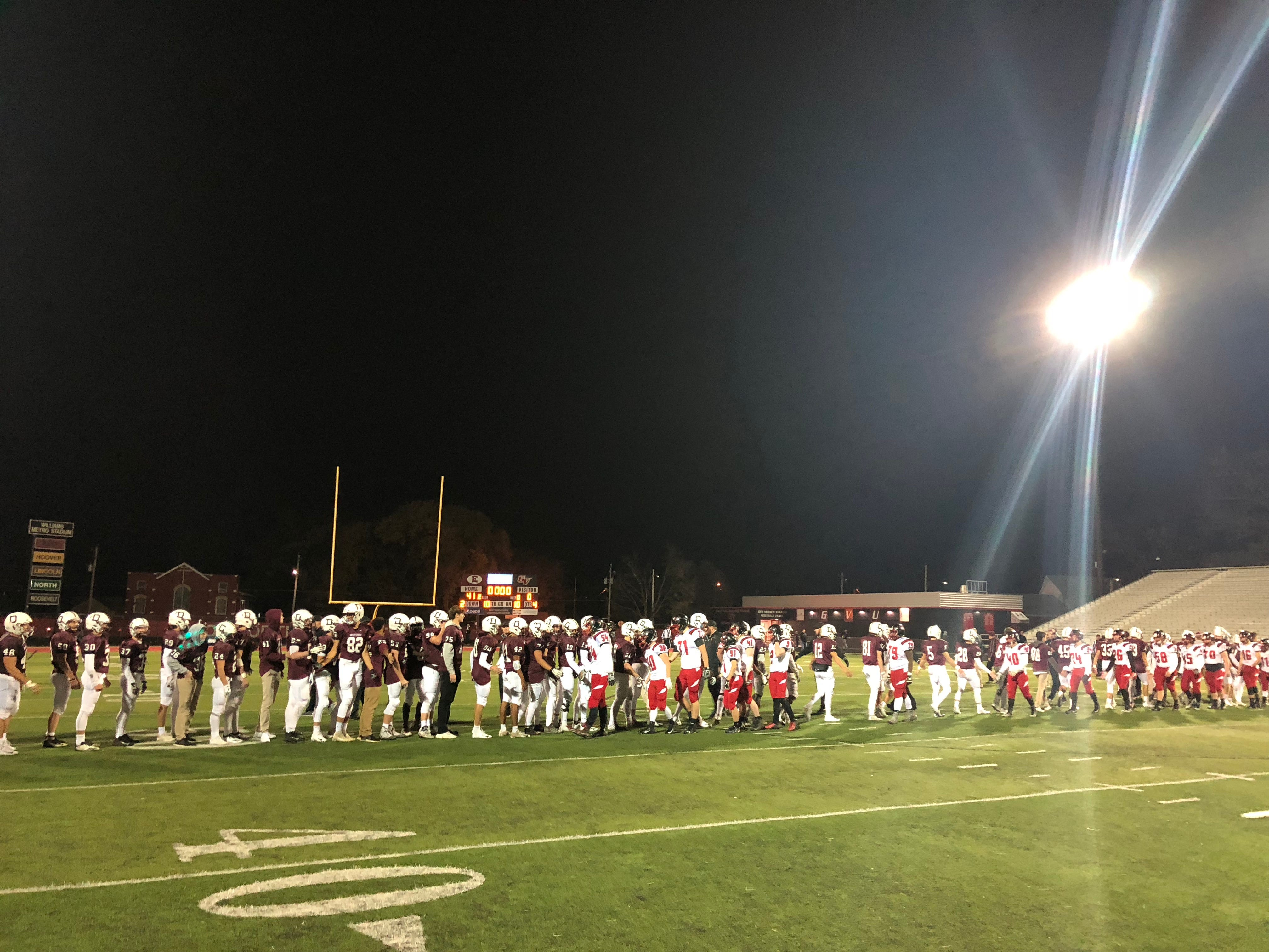 The Dowling Catholic football team beat Fort Dodge, 41-0, in the first round of the Class 4A state playoffs on Friday at Williams Stadium in Des Moines.