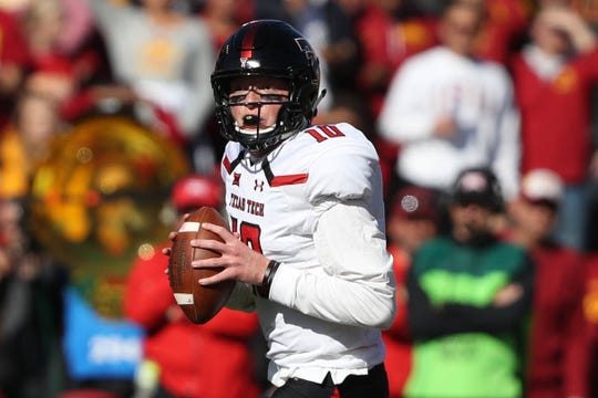 Oct 27, 2018; Ames, IA, USA; Texas Tech Red Raiders quarterback Alan Bowman (10) looks to pass against the Iowa State Cyclones at Jack Trice Stadium. Mandatory Credit: Reese Strickland-USA TODAY Sports