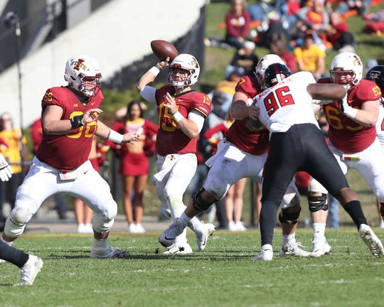 Oct 27, 2018; Ames, IA, USA; Iowa State Cyclones quarterback Brock Purdy (15) throws a pass against the Texas Tech Red Raiders Jack Trice Stadium. Mandatory Credit: Reese Strickland-USA TODAY Sports