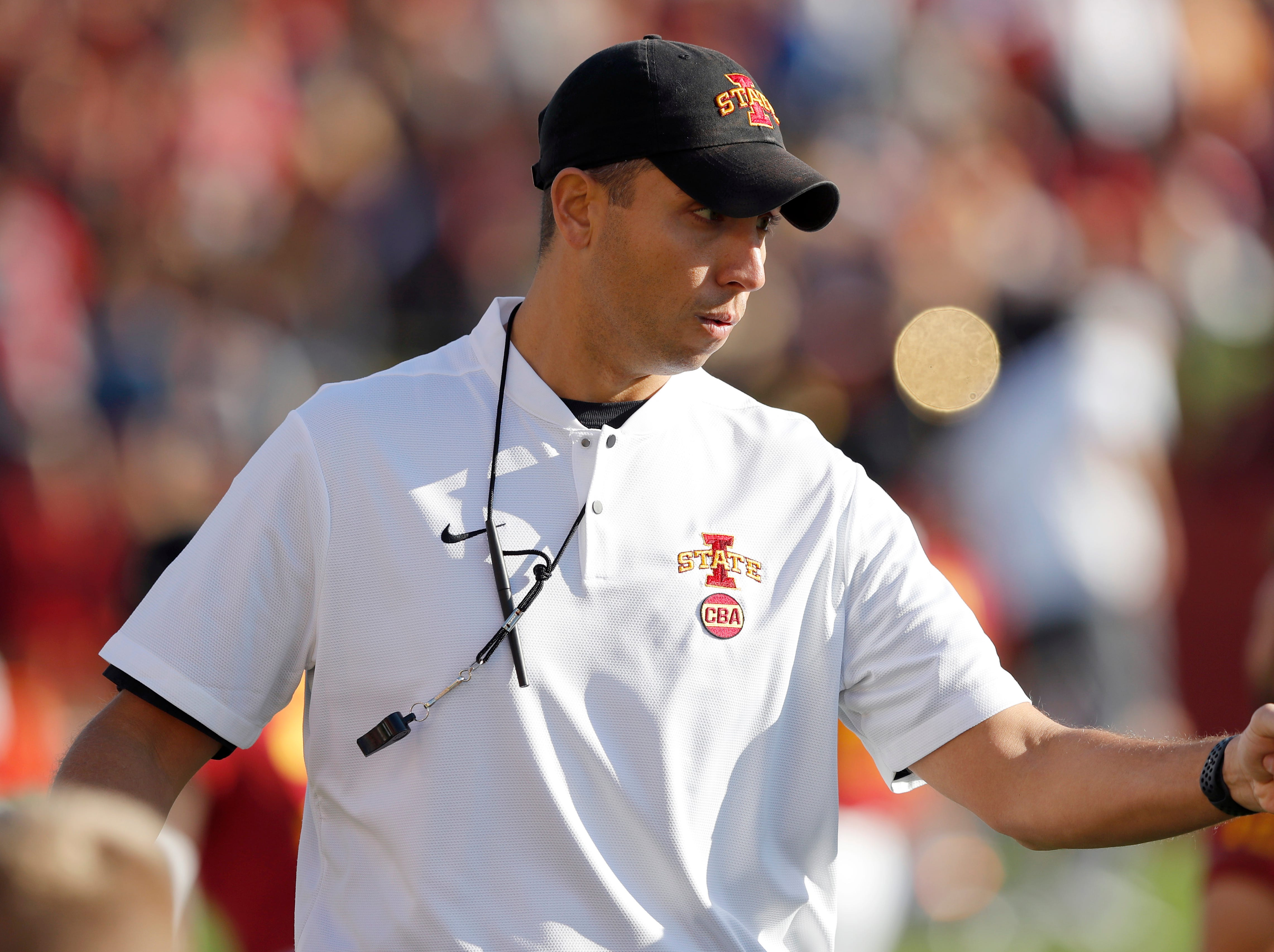 Iowa State head coach Matt Campbell walks on the field before an NCAA college football game against Texas Tech, Saturday, Oct. 27, 2018, in Ames, Iowa. (AP Photo/Charlie Neibergall)