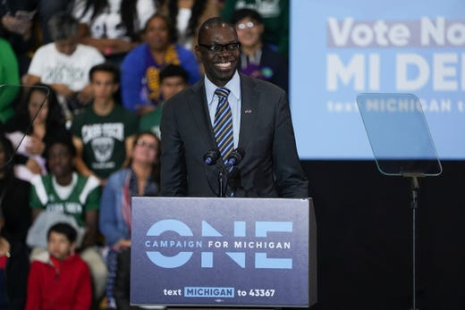 Lt. Governor candidate Garlin Gilchrist II speaks during the Michigan Get Out The Vote Rally of the Michigan Democratic Party on Friday, October 26, 2018 at Detroit Cass Tech High School.
