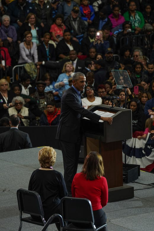 44. President of the United States Barack Obama Speaks During Michigan's Exit The Democratic Rally of Michigan Democratic Party on Friday, October 26, 2018 at Detroit Cass Tech High School.