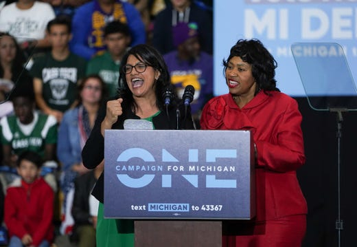 Congressional candidate Rashida Tlaib and Brenda Jones, president of the Detroit City Council, speak during the Michigan vote on the Michigan Democratic Party voting party on October 26, 2018 at Detroit Cass Tech High school.