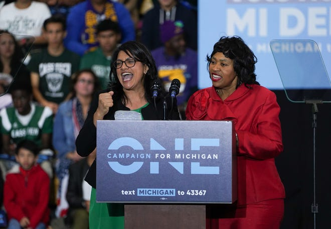 Congressional candidate Rashida Tlaib and Detroit City Council President Brenda Jones speak during the Michigan Get Out The Vote Rally by the Michigan Democratic Party on Friday, October 26, 2018 at ÊDetroit Cass Tech High School.
