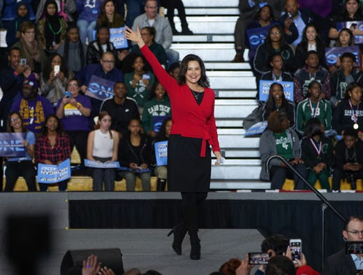 Democratic gubernatorial Gretchen Whitmer takes the stage to speak during the Michigan Get Out The Vote rally of the Michigan Democratic Party on Friday, October 26, 2018 at Detroit Cass Tech High School.