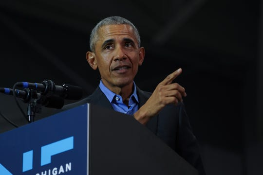 44th President of the United States Barack Obama speaks during the Michigan Get Out The Vote Rally by the Michigan Democratic Party on Friday, October 26, 2018 at Detroit Cass Tech High School.