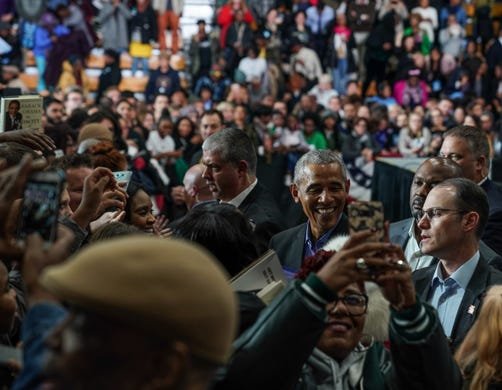 44. President of the United States Barack Obama greets followers after speaking during the Michigan Get Out The Vote Collection by the Democratic Party of Michigan on Friday, October 26, 2018 at the Detroit Cass Tech High School.