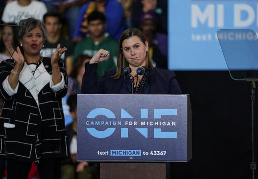 Congressional nominee Elissa Slotkin speaks at the Michigan Democratic convention on October 26, 2018 at Detroit Cass Tech High School.