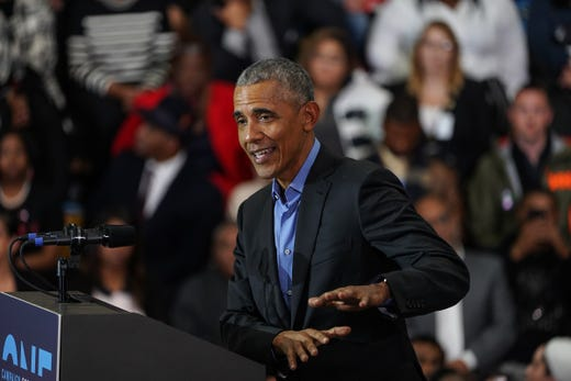 44th President of the United States Barack Obama speaks during the Michigan Outsourcing Vote Rally by the Michigan Democracy Cratic Party on Friday, October 26, 2018 at Detroit Cass Tech High School.