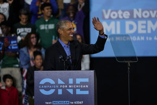 44. President of the United States Barack Obama Speaks During Michigan Coming Out The Vote Collection by the Michigan Democratic Party on Friday, October 26, 2018 at Detroit Cass Tech High School.