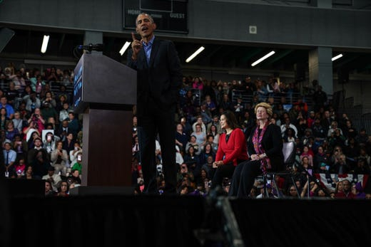 44. President of the United States Barack Obama Speaks During Michigan Coming Out The Voting Rally of the Democratic Party of Michigan on Friday, October 26, 2018 at Detroit's Cass Tech High School.