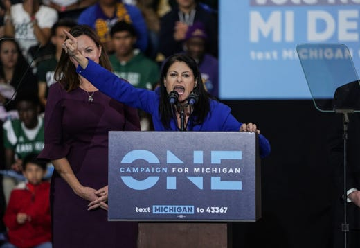 Democratic candidate for Attorney General Dana Essel speaks during the Los Angeles Rally at the Los Angeles Rally of the Michigan Democratic Party on October 26, 2018 at Detroit Cass Tech High School.
