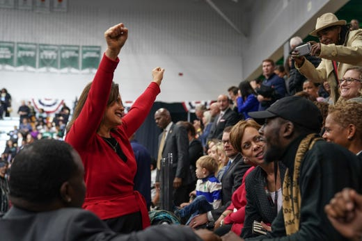 Democratic gubernatorial candidate Gretchen Whitmer talks to the crowd before the start of the Michigan Get Out The Michigan Democratic Party's voting session on Friday, October 26, 2018 at Detroit's Cass Tech High School.