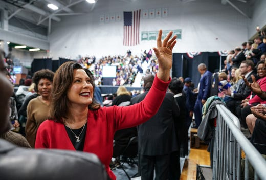 Democratic gubernatorial candidate Gretchen Whitmer talks to the Michigan Democratic Party on the launch of the Michigan Ride Rally on Friday, October 26, 2018 at Detroit Cass Tech High School.