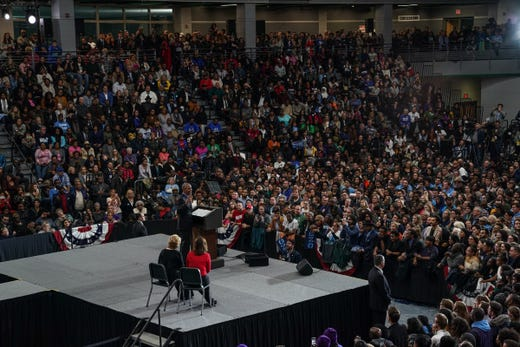 44. President of the United States Barack Obama Speaks During Michigan Get the Vote Rally from the Michigan Democratic Party on Friday, October 26, 2018 at Detroit Cass Tech High School.