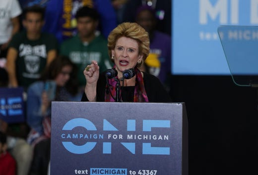 Sen. Debbie Stabenow speaks during the Michigan Los Out The Vote Rally of the Democratic Party of Michigan on Friday, October 26, 2018 at Detroit's Cass Tech High School