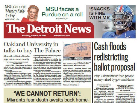 The front page of The Detroit News on October 27, 2018.