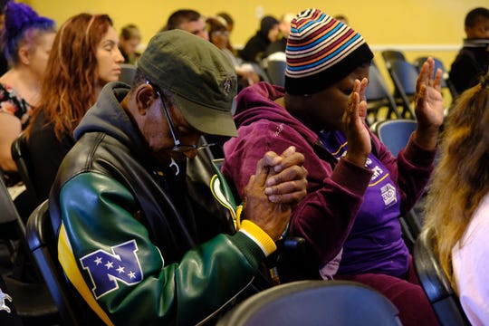 More than 100 people gathered at the interfaith prayer Saturday in the former chapel of Cantrell Funeral Home on Detroit's east side.