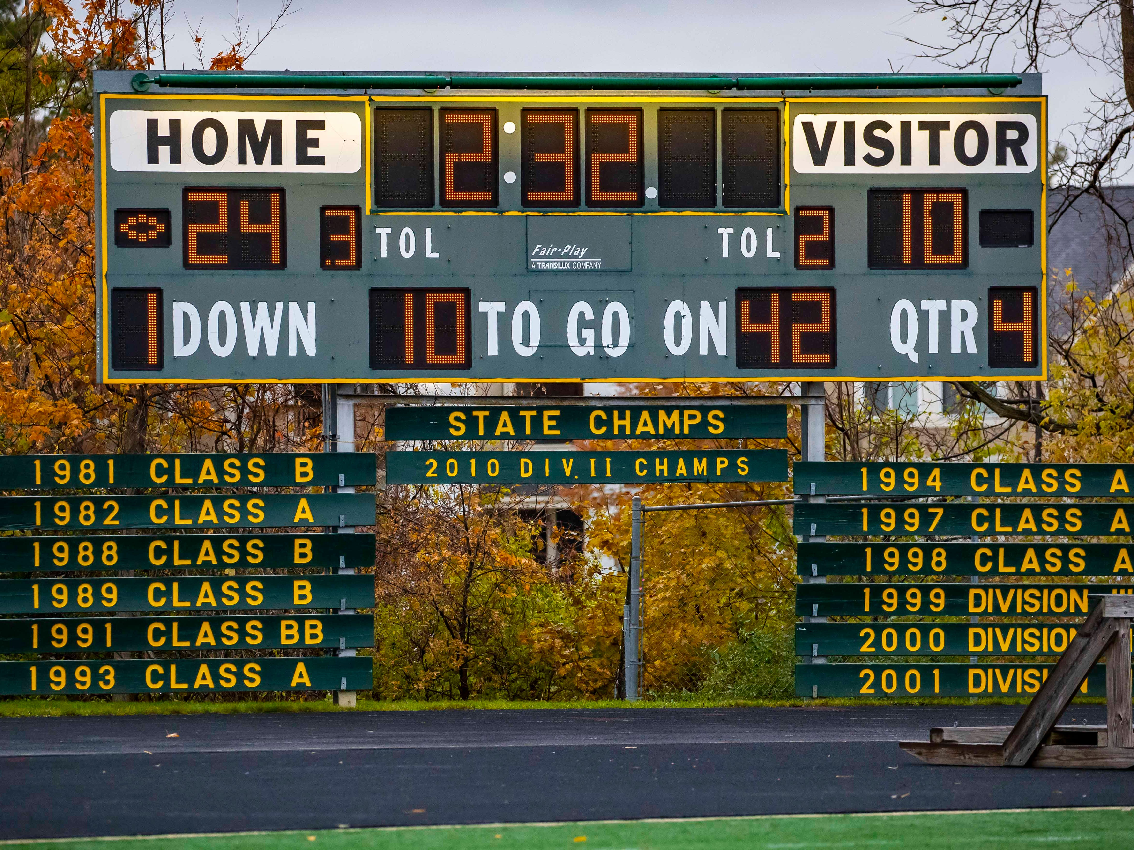 The Farmington Hills Harrison score board shows the final score and years of state championships for the Hawks.