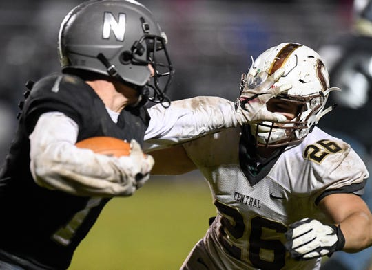 Northview locked up with Central in a Class 4A sectional game last year in Brazil, Indiana. This season, the Knights are without Trevor Cook, shown here in last year's game, but they'll play another SIAC school -- Memorial.