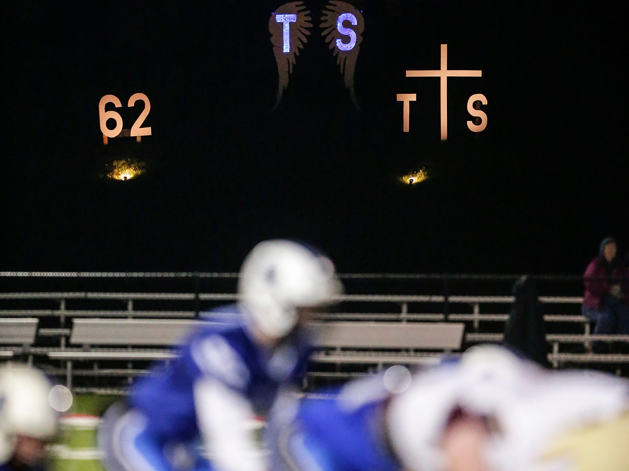 A memorial was set up honoring St. Mary's Springs player Trent Schueffner as the Ledgers played Omro in a WIAA Division 5, level 2 playoff game Friday, Oct. 26, 2018 in Lomira, Wis. Schueffner was killed in a hunting accident exactly one week earlier. Springs won the playoff game 33-20.