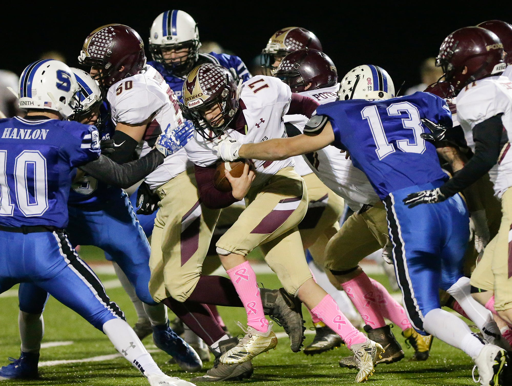 Omro High School football's Ben Wellhoefer returns a kickoff against St. Mary's Springs Academy Friday, October 26, 2018 during their WIAA division five, level 2 playoff game played in Lomira, Wisconsin. Springs won the match-up 33-20. Doug Raflik/USA TODAY NETWORK-Wisconsin
