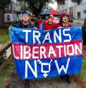 FSU's Students for a Democratic Society protest the Trump administration's plans to re-define gender that would revoke civil rights protections for transgender people.